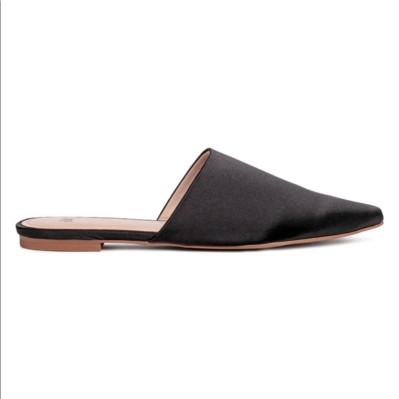 51994866249e H M Shoes - H M Black Satin Mule Slide Loafers 6 pointed toe